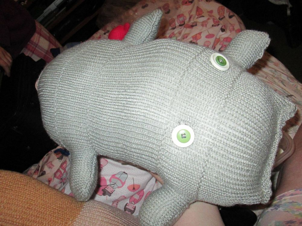 Grey Giant Scuttlerat with Peach Tail Knitted Soft Toy