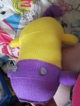 Yellow & Purple Giant Scuttlecat Knitted Soft Toy