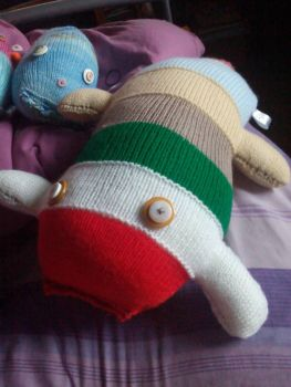 Red, White, Green, Brown, Cream, Blue & Pink Giant Scuttlecat Knitted Soft Toy