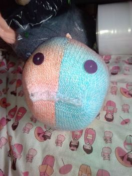 Pink Blue Peach Rainbow Giant Fish Knitted Soft Toy