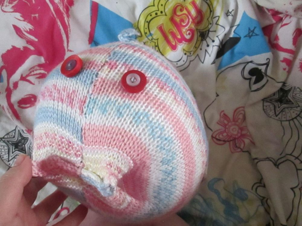Striped Pattern Pink Blue White Giant Fish Knitted Soft Toy