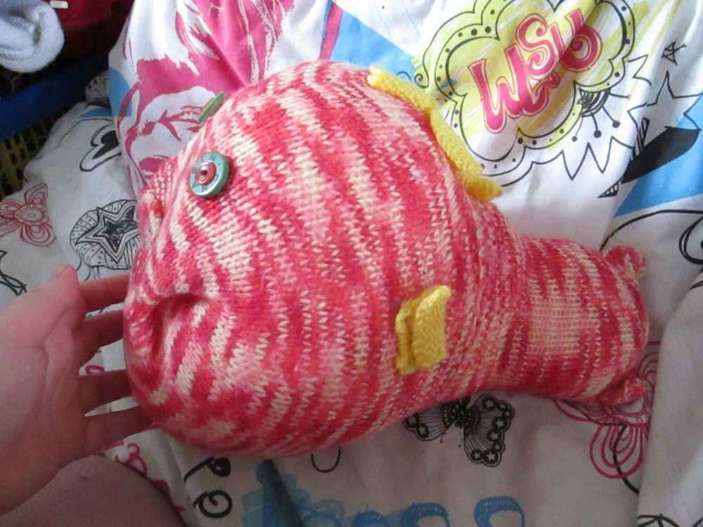 Red & Cream Patterned Giant Fish Knitted Soft Toy