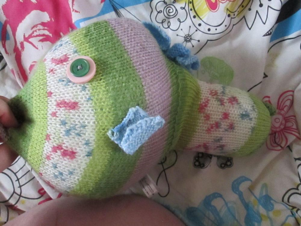 Green Floral Patterned Giant Fish Knitted Soft Toy