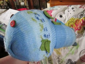 Blue and Green Patterned Giant Fish Knitted Soft Toy