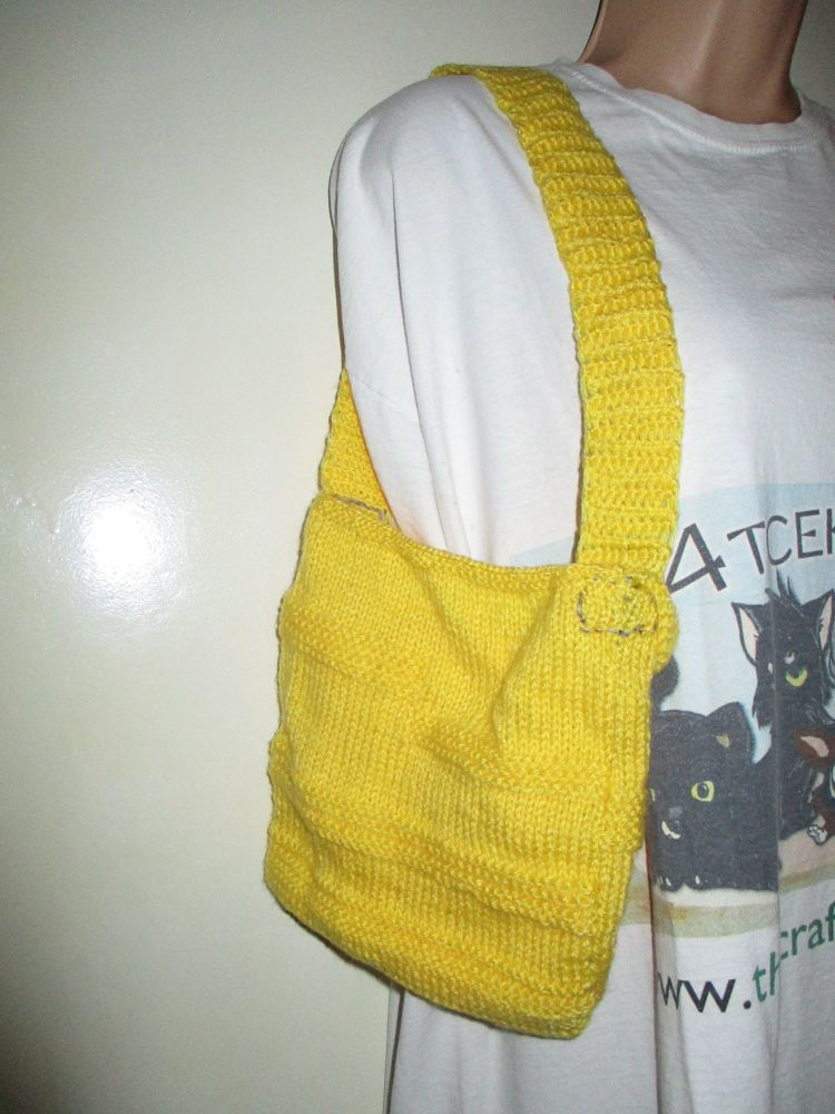 Yellow Patterned Knitted Bag. Knitted By KittyMumma