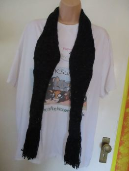 "Black with Multi coloured dashes 63.7"" Scarf. Knitted By KittyMumma"
