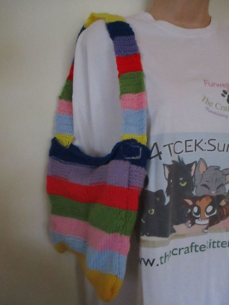 Blue Red Green Yellow Pink Purple Rainbow Knitted Shoulder Bag. Knitted By KittyMumma