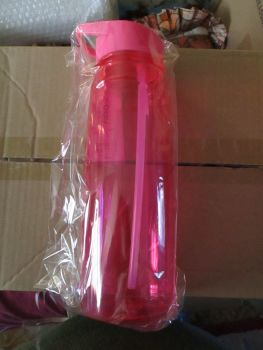 Pink Drinks Bottle With Integrated Straw