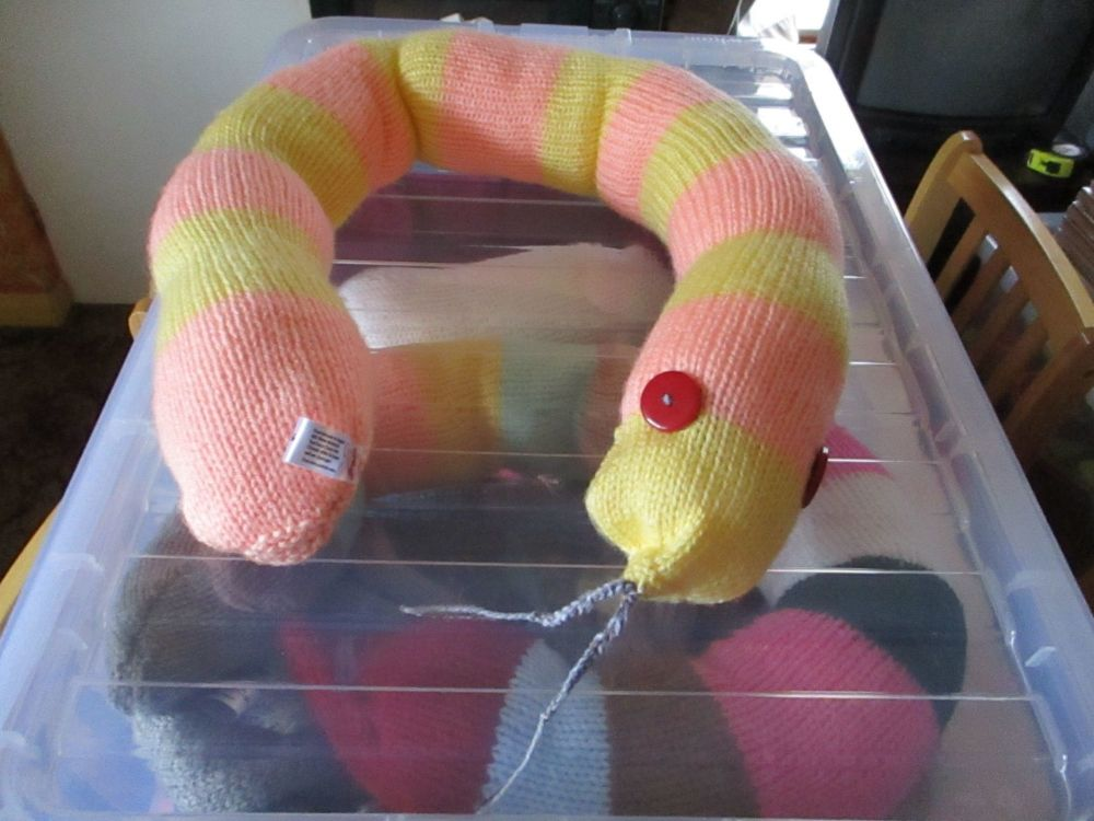 Peach / Yellow Banded Giant Snake Knitted Soft Toy