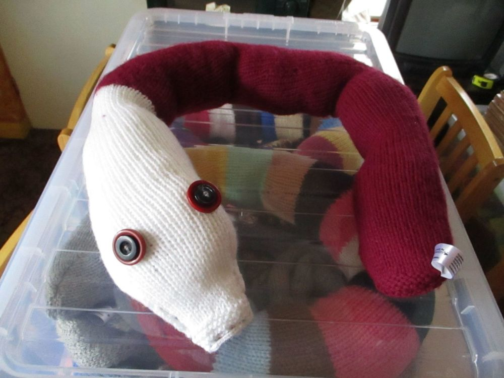 White Headed Wine Coloured Giant Snake Knitted Soft Toy