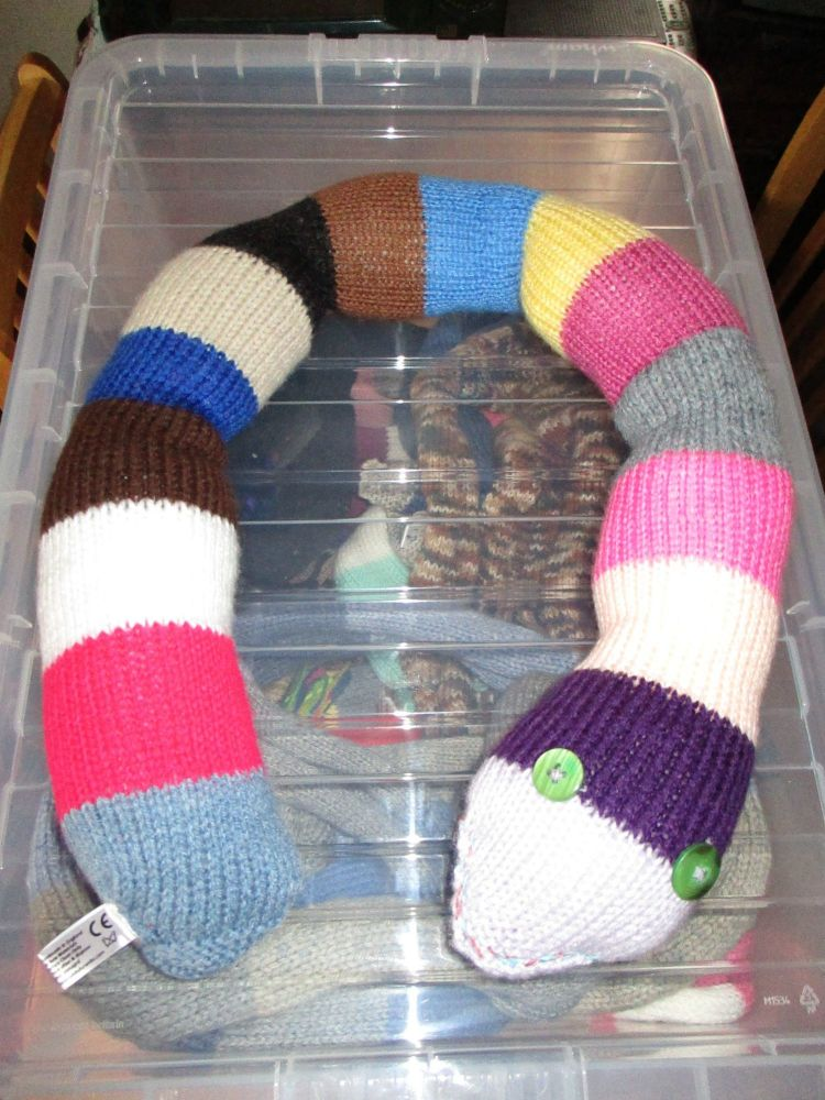 Purple Headed Multi Coloured Giant Snake Knitted Soft Toy