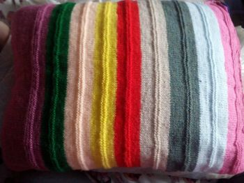"Multiple Striped Pinks Greens Etc Knitted Covered Pillow 21"" x 15"""