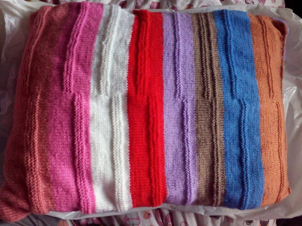 "Multiple Striped Pink Blue Brown Purple Red White Orange Etc Knitted Covered Pillow 21"" x 15"""