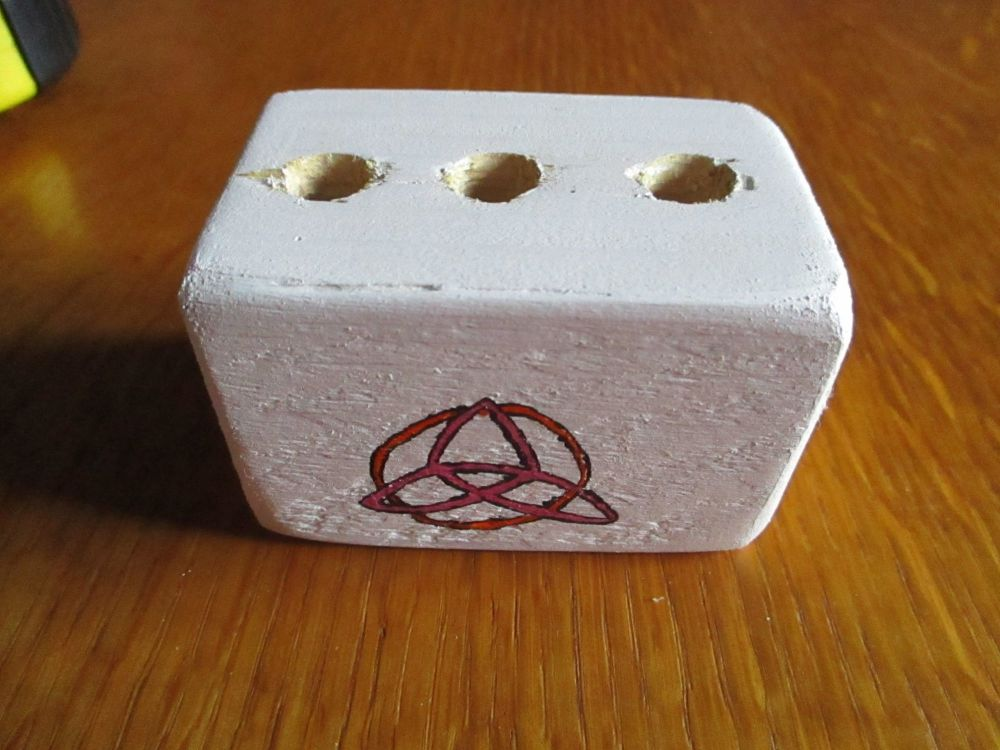 Pink Triquetra Symbol 3 Hole White Stationery Block (Type 2)