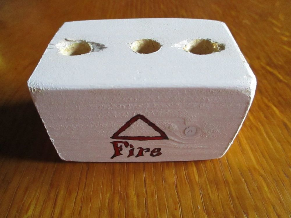 Dark Red Fire Symbol 3 Hole White Stationery Block