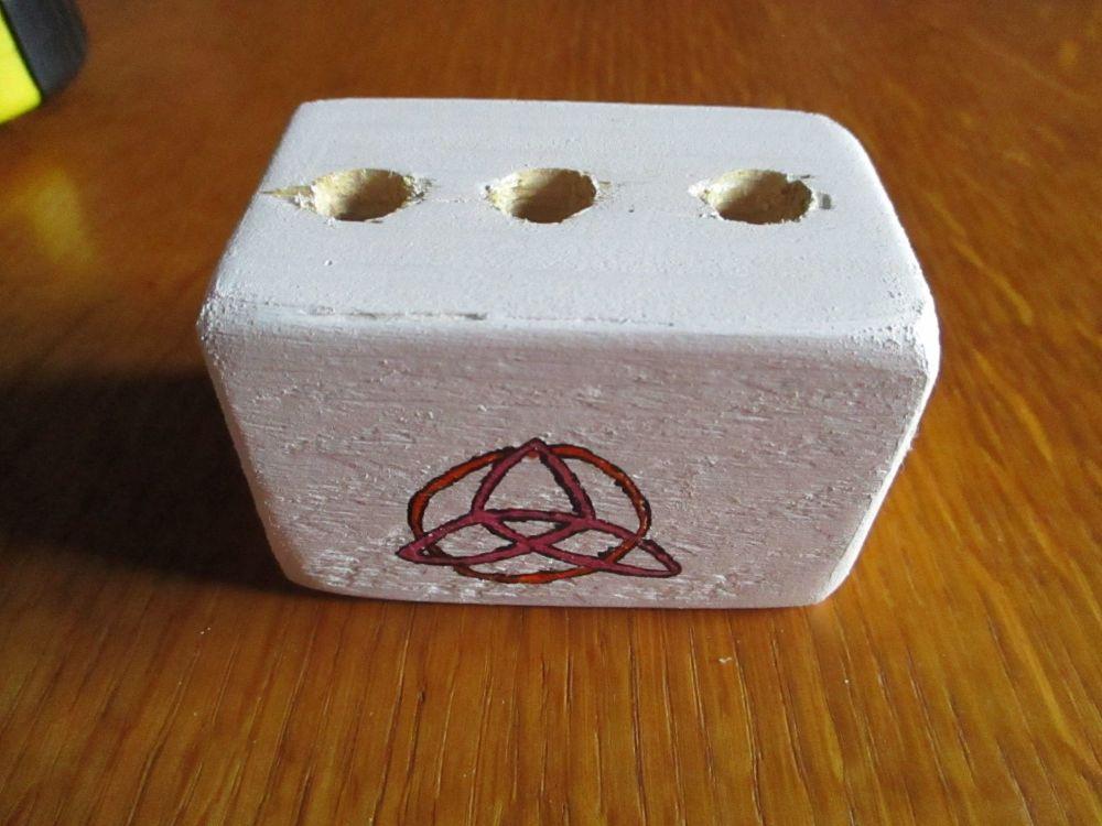 Pink Triquetra Symbol 3 Hole White Stationery Block