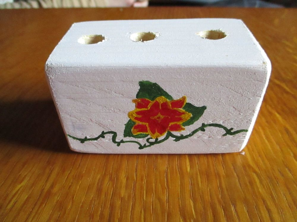 Red & Yellow Flower Green Vines 3 Hole White Stationery Block (type2)