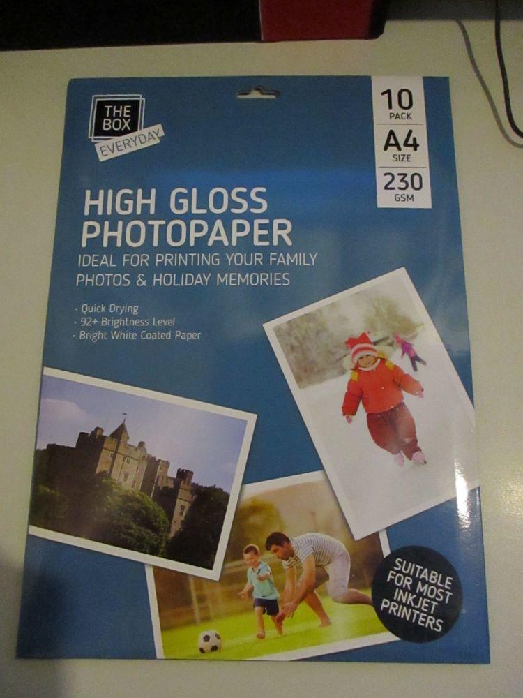 10pk High Gloss A4 230GSM Photopaper