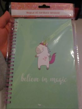 Green Unicorn Believe In Magic Magical A5 Hardback Spiral Bound Notebook