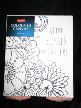 Alive Blessed Grateful Floral - Impression - Colour In Canvas 25cm x 30cm