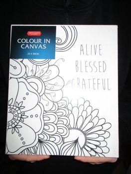 Alive Blessed Grateful Floral - Impression - Colour In Canvas 25cm x 30cm