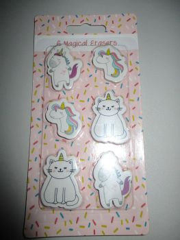 6pc Magical Unicorn & Cat Erasers