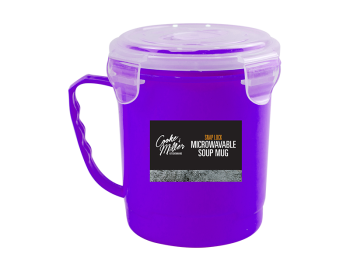 Purple Microwavable Soup Cup With Lid