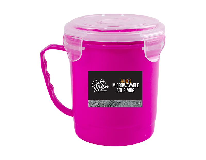 Pink Microwavable Soup Cup With Lid