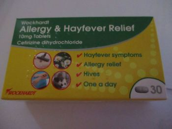 Allergy & Hayfever Relief  - Cetirizine Dihydrochloride 10mg 30 Tablet Pack - Wockhardt