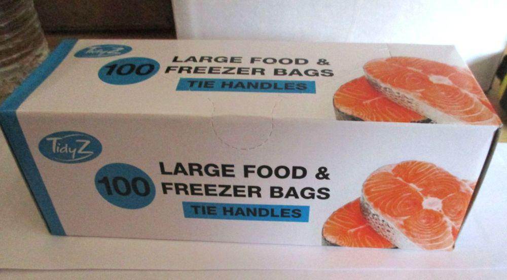 TidyZ 100 Large Food & Freezer Bags Tie Handle - Strong Strength