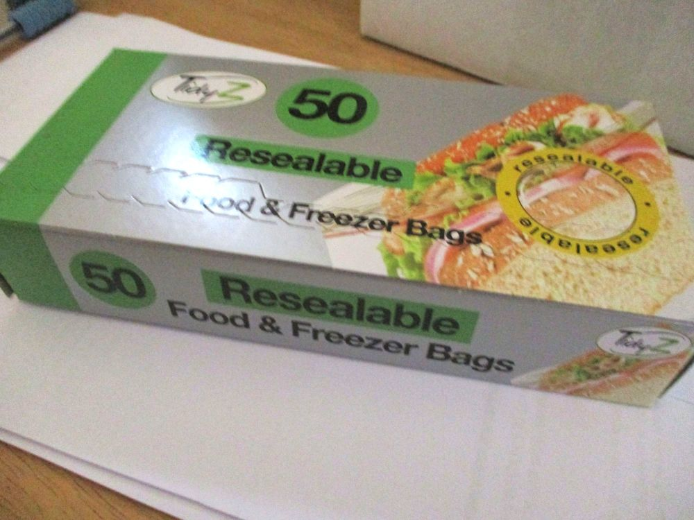 TidyZ 50 Resealable Food & Freezer Bags (zip lock). Ultimate Strength
