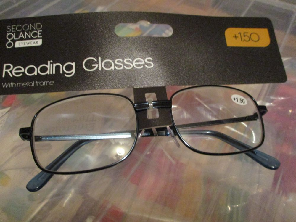 +1.50 Reading Glasses with Blue Metal Frames – Second Glance Eye-wear