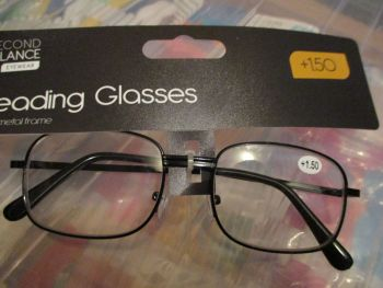 +1.50 Reading Glasses with Black Metal Frames – Second Glance Eye-wear