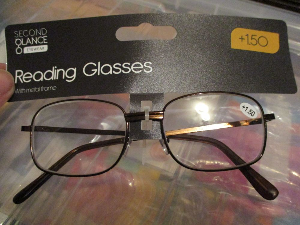 +1.50 Reading Glasses with Brown Metal Frames – Second Glance Eye-wear