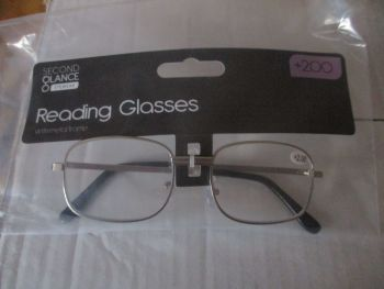 +2.00 Reading Glasses with Silver Metal Frames – Second Glance Eye-wear
