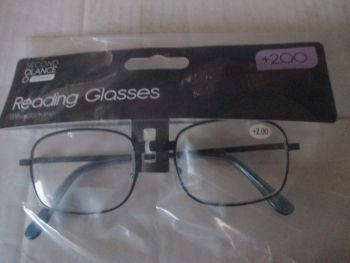 +2.00 Reading Glasses with Blue Metal Frames – Second Glance Eye-wear