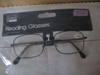 +2.00 Reading Glasses with Black Metal Frames – Second Glance Eye-wear