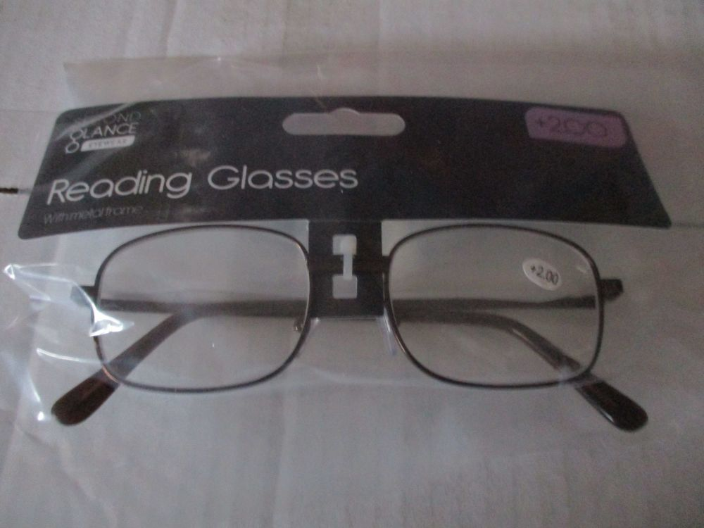 +2.00 Reading Glasses with Brown Metal Frames – Second Glance Eye-wear