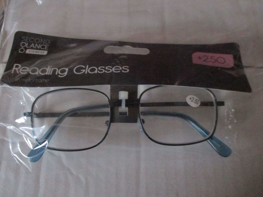 +2.50 Reading Glasses with Blue Metal Frames – Second Glance Eye-wear