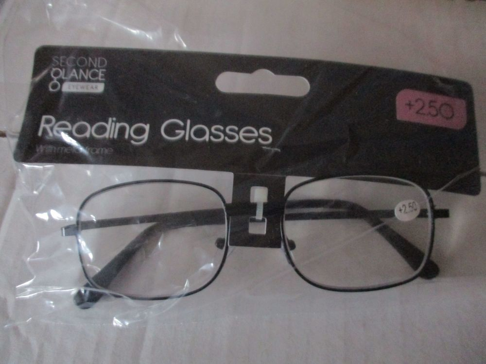 +2.50 Reading Glasses with Black Metal Frames – Second Glance Eye-wear