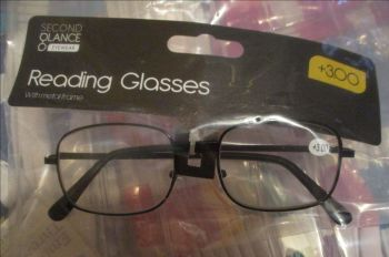 +3.00 Reading Glasses with Black Metal Frames – Second Glance Eye-wear