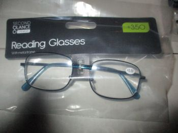 +3.50 Reading Glasses with Blue Metal Frames – Second Glance Eye-wear