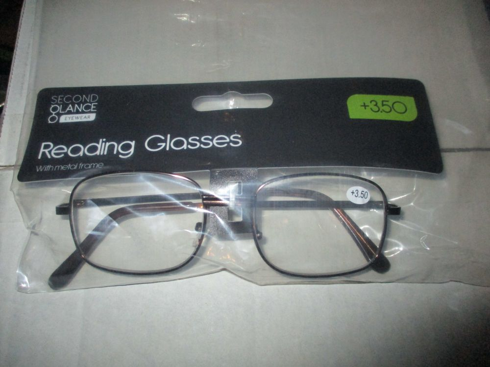 +3.50 Reading Glasses with Brown Metal Frames – Second Glance Eye-wear