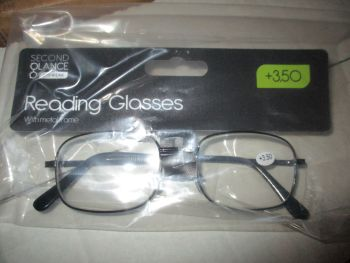 +3.50 Reading Glasses with Black Metal Frames – Second Glance Eye-wear