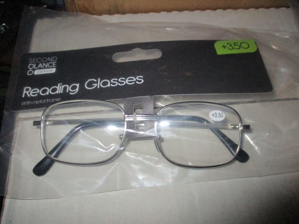 +3.50 Reading Glasses with Silver Metal Frames – Second Glance Eye-wear