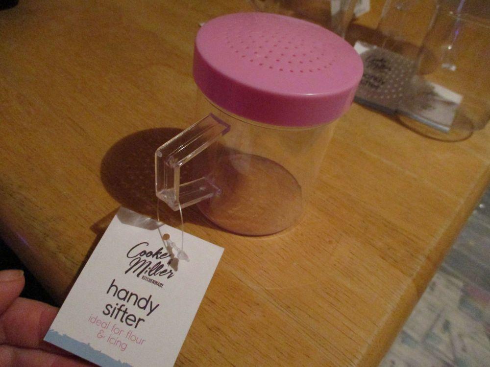 Pink Lidded Clear Plastic Handy Flour Sugar Sifter - Cooke & Miller