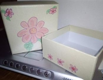 Pink Floral Design on Decorated Pearlescent Wrapped Cardboard Trinket Box