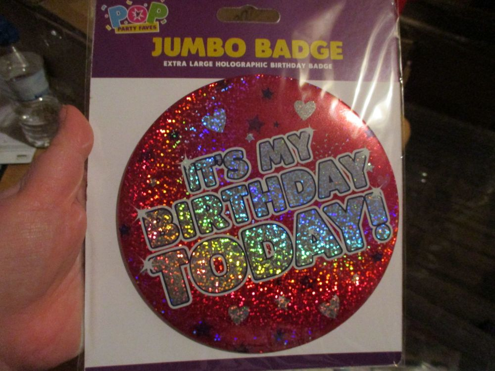 "Red Hearts Holographic ""It's My Birthday Today"" Jumbo Birthday Badge - Pop Party Faves"