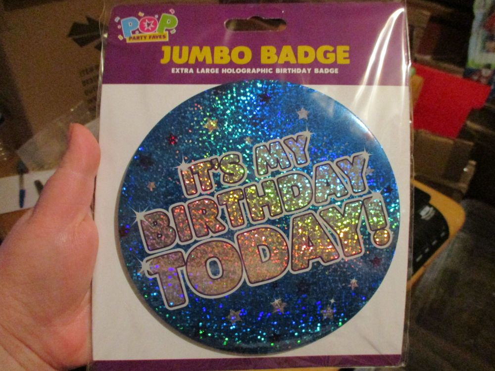 "Blue Stars Holographic ""It's My Birthday Today"" Jumbo Birthday Badge - Pop Party Faves"