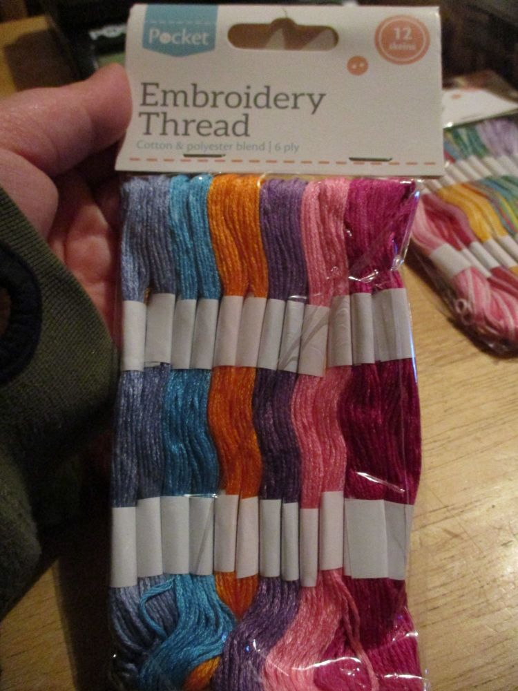 Brights Embroidery Thread cotton & Polyester blend 6ply 12 skeins